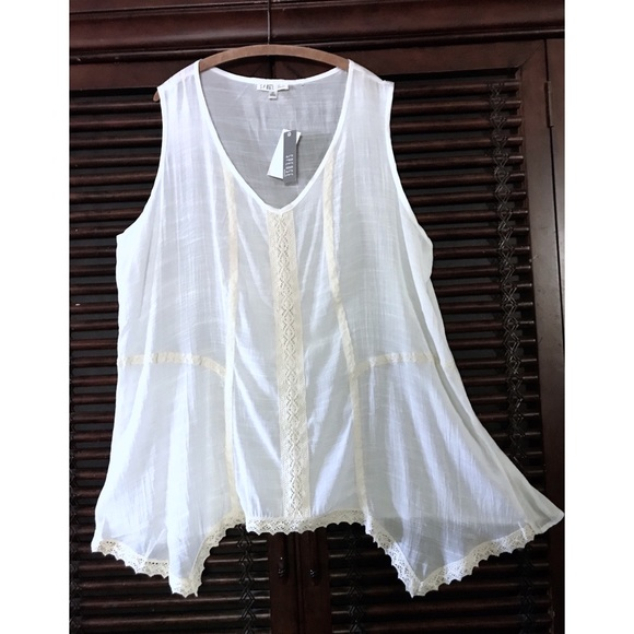 4393f28d9bf 1X 2X Spense Ivory Crochet Lace Top BOHO Peasant. NWT